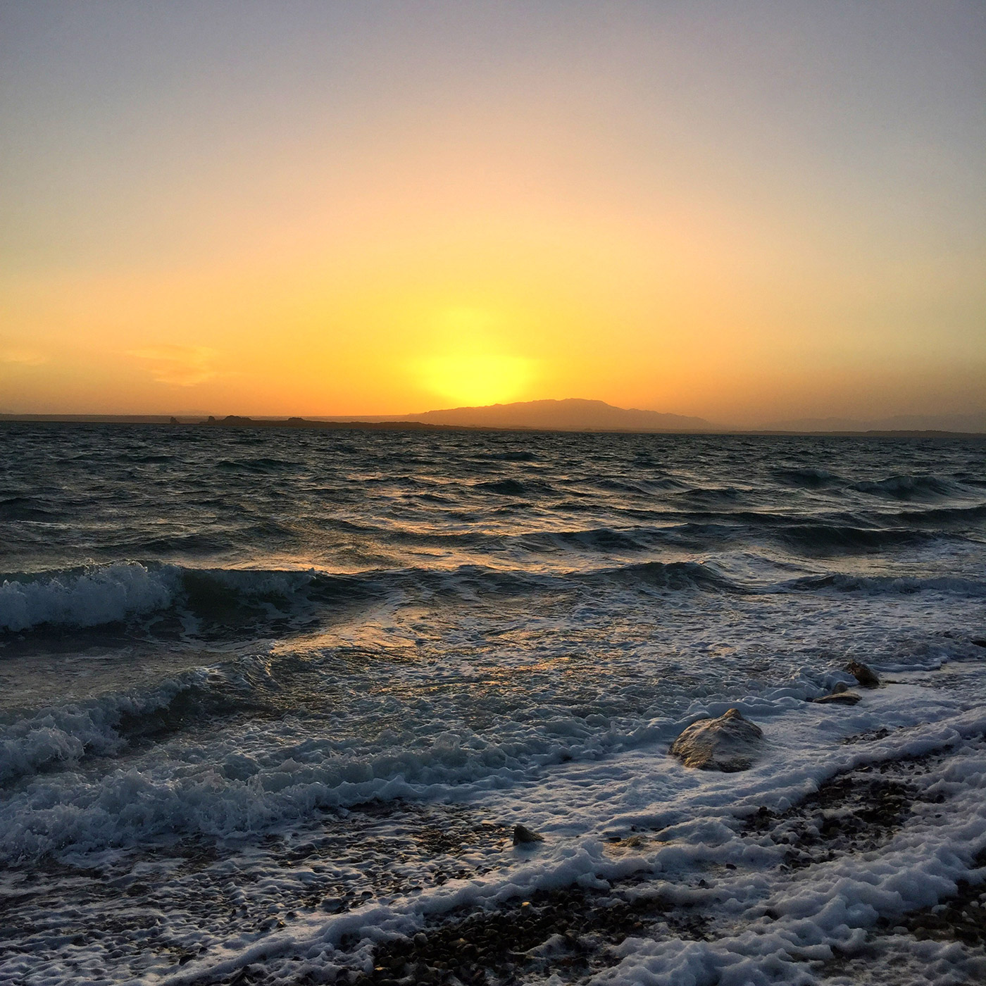 托素湖落日余晖